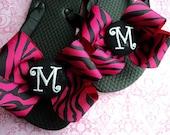 Hot Pink Zebra Monogram Initial Boutique Style Bow Ribbon Flip Flops