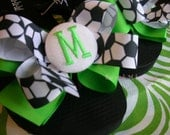 Monogram Initial Soccer Themed Boutique Style Ribbon Bow Flip Flops Lime Green