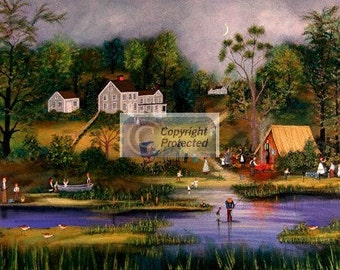 Camping on the Lake - Limited Edition Print _ by J.L. Munro