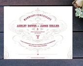 "Vintage Chic Custom Marriage Certificate - 13"" x 10"""