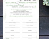 "Made to Order Marriage Certificate with Vintage Details - 16"" x 12"""