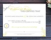 """Vintage Monogram Custom Marriage Certificate - 13"""" x 10"""""""