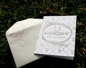 Lucky In Love Horseshoe Letterpress Greeting Card