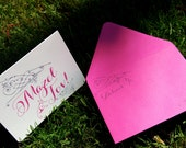 Pink Mazel Tov Congratulations Folded Greeting Card