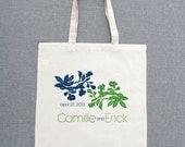 Decorative Floral Custom Tote Bags (Set of 5)