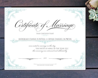 "Old World Elegance Custom Certificate of Marriage - 13"" x 10"""