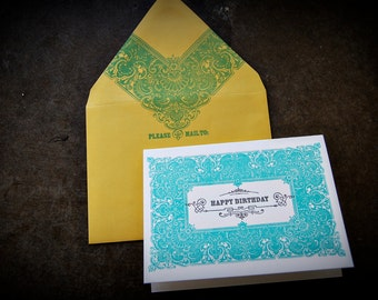 Vintage Frame Happy Birthday Letterpress Greeting Card