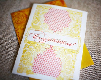 Vintage Inspired Congratulations Letterpress Card