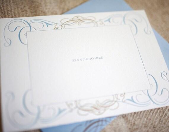 SALE - Card - Blue Swirls Photo Ready Letterpress