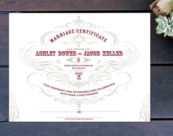 "Vintage Chic Custom Marriage Certificate - 13"" x 10"""