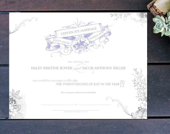 """Vintage Romance Made to Order Marriage Certificate - 13"""" x 10"""""""