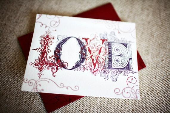 Love Letters Vintage Inspired Letterpress Greeting Card