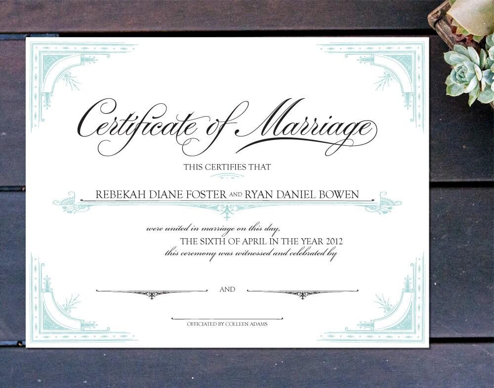 Old World Elegance Custom Certificate Of Marriage 13 X