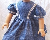 Indigo Beauty Lace Trimmed Civil War Style Dress Fits American Girl Dolls Addy Kirsten