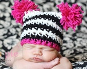Newborn sized sack hat in black/white stripes with pink. Newborn photo prop.
