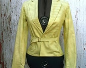 Green and Yellow Striped Blazer