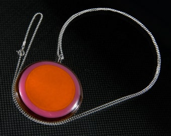 Large Glass Pendant on Silver Chain