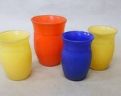 Four Painted Frosted Glass tumblers   Vintage