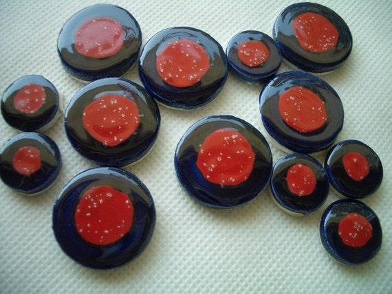 13M - 13-pc Blue w-RED-White Dot MELTIES - Ceramic Mosaic Tiles