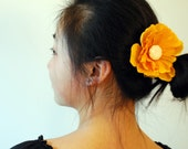 Sunshine Yellow Floral Hair Clip -FREE SHIPPING-