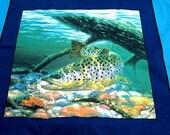 2 yds left Beautiful Fish Print Pillow Panels 44 in 100 per Cotton 1 yard equals 4 panels Alaska fisherman outdoor sports