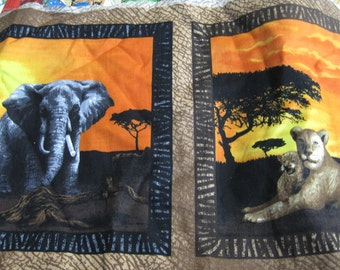 African print Fabric Serengeti Sunset Panels 100 percent Cotton 44 in wide Safari 1 yard and 8 inches left