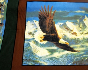 By the yard Nature Eagle Pillow Panels 100 percent cotton 44 inches wide by the yard