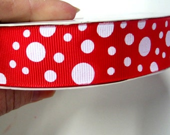 3 yards red and white dots  grossgrain ribbon 7/8ths inch wide  by the yard