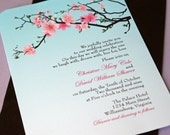 Rounded Corner Cherry Blossoms Wedding Invitation (Sample)