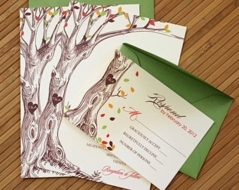 Rustic Autumn Tree Wedding Invitation with Carved Initials in Green, Brown, Orange, and Red