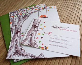 Rustic Autumn Tree Wedding Invitation with Carved Initials in Green, Brown, Orange, and Red and Love Birds