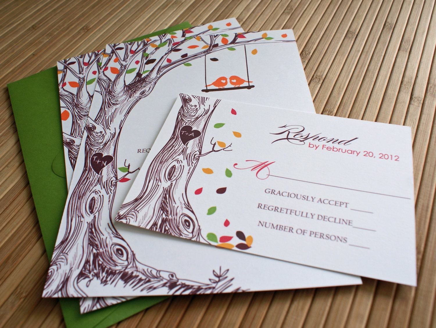 Tree Wedding Invitation: Rustic Autumn Tree Wedding Invitation With By TaylorsPaperie