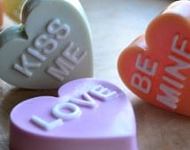 Valentines Day Soap - Individual Conversation Heart Vegan Soap - Your Choice Valentine Soap