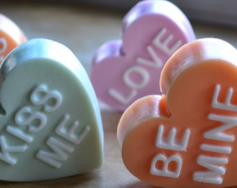 Valentine Soap - Conversation Hearts Vegan Soap Gift Set - Valentines Day - Candy Soap - Novelty - Gift - Shower Favor - Sweetheart - Love