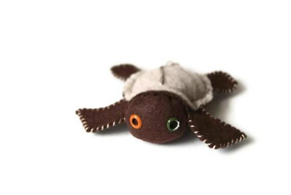 SALE - ecofi felt turtle ornament - walnut brown and sandstone     (Decorative Plush Toy)