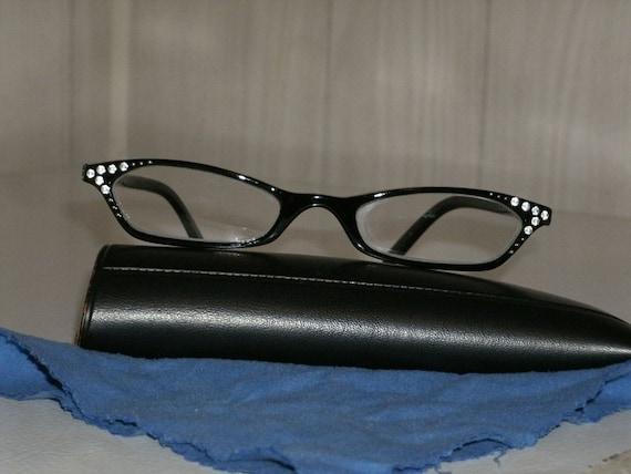 Vintage 70's Eyewear Black with Rhinestones