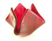 Ruby Red Glass Vase l Candy Dish Bowl l Candle Holder - Hostess Gift