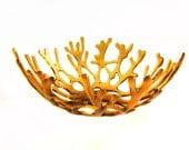 Amber Art Glass Decorative Sea Coral Bowl l Beach Cottage Decor
