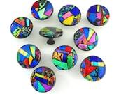 Mosaic Glass Cabinet Hardware Knob - Multicolored Jeweltones