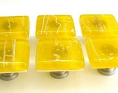 Yellow Glass Knobs, Custom Cabinet Hardware, Kitchen Knobs