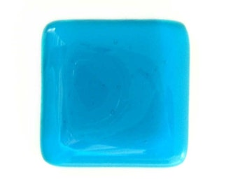 Glass Knob Cabinet Hardware in Deep Turquoise -Custom Sizes by Uneek Glass Fusions k1175