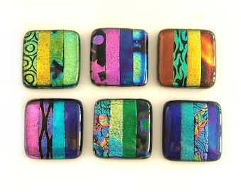 Multi-Colored Bands Dichroic Glass Cabinet Knobs Hardware