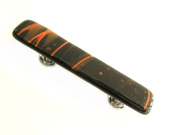 Black and Orange Drawer Pulls Glass Cabinet Handles Hardware