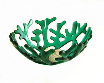 Emerald Green Fused Decorative Glass Sea Coral Bowl