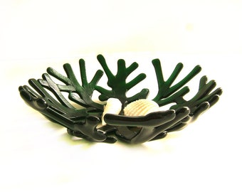 Forest Green Decorative Ocean Beach Sea Coral Bowl