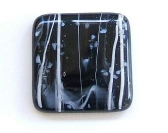 Black with White Confetti Fused Glass Cabinet Knob