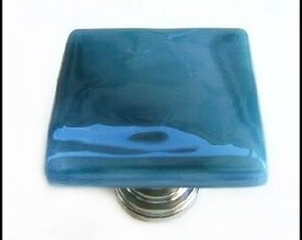 Glass Knob is Blue Wisps Fused Art Glass