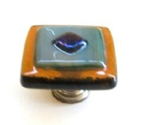 Amber with Blue Green Wisps Glass Cabinet Hardware Knob