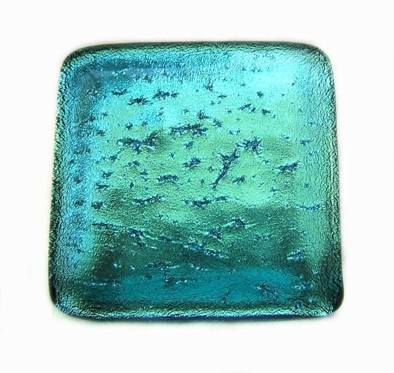 Aqua blue decorative glass knobs cabinet hardware in dichroic for Colored glass cabinet knobs