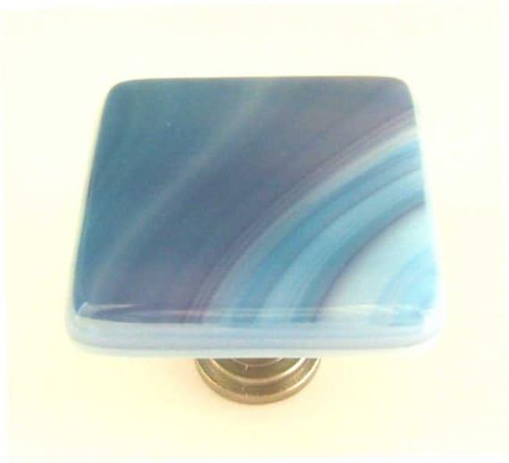 Glass Cabinet Hardware Knob in Turquoise Blue Raspberry Swirls